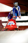 18 November 2005: Gerda Weissensteiner pilots Italy 1 to a 10th place finish at the 2005 FIBT AIT World Cup Women's Bobsleigh Tour at the Verizon Sports Complex, in Lake Placid, NY. Mandatory Photo Credit: Ed Wolfstein.