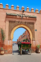 The Arabesque Bab Er Robb gate built by the Almohads in the 12th century, Marrakech, Morocco