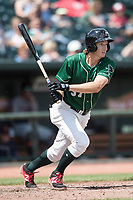 Great Lakes Loons outfielder Mitchell Hansen (37) follows through on his swing against the Bowling Green Hot Rods during the Midwest League baseball game on June 4, 2017 at Dow Diamond in Midland, Michigan. Great Lakes defeated Bowling Green 11-0. (Andrew Woolley/Four Seam Images)