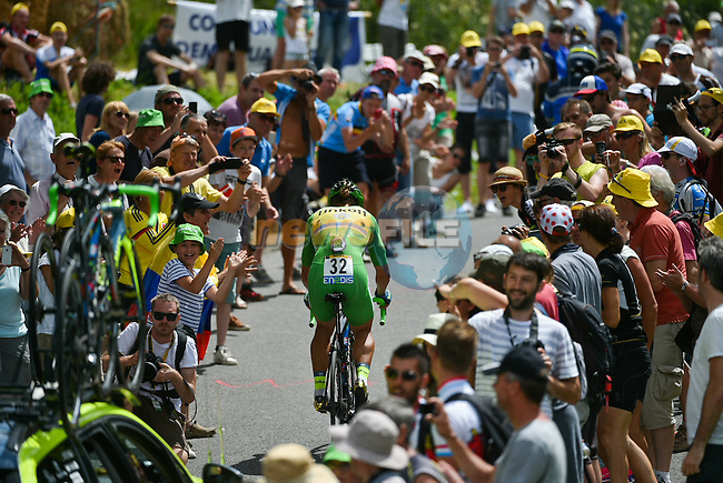 Green Jersey leader Peter Sagan (SVK) Tinkoff during Stage 18 of the 2016 Tour de France a17km individual mountain time trial from Sallanches to Megeve, France. 21st July 2016.<br /> Picture: ASO/P.Ballet | Newsfile<br /> <br /> <br /> All photos usage must carry mandatory copyright credit (&copy; Newsfile | ASO/P.Ballet)