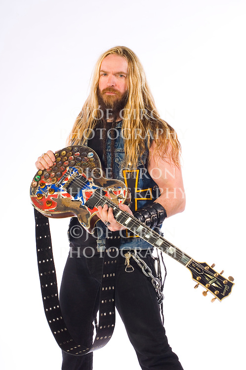 """Portrait session with Ozzy Osbourne guitarist, Zakk Wylde.  The shoot was done to promote Osbourne's new CD, """"Black Rain,"""" which was released 5/22/07."""