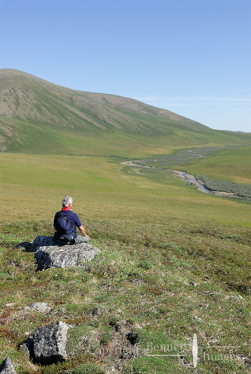 Jonathan Bennett takes in the scenery at Caribou Pass, in Alaska's Arctic National Wildlife Refuge.
