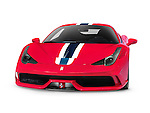 Red 2014 Ferrari 458 Speciale sports car front view isolated on white background with clipping path