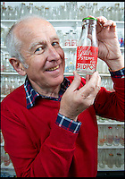 BNPS.co.uk (01202 558833)<br /> Pic: RachelAdams/BNPS<br /> <br /> Peter with one of the bottles in his collection. <br /> <br /> In a glass of his own...<br /> <br /> Dairy-daft Peter Hayward is udderly devoted to his bizarre hobby - collecting vintage milk bottles.<br /> <br /> The 70-year-old has devoted the last 30 years to building up a whopping collection of more than 1,000 bottles.<br /> <br /> Peter, a former dairy worker, scours the south west of Britain in search of rare bottles emblazened with the colourful logos of old dairies.<br /> <br /> And since retiring 16 years ago his collection has swelled so much that he has been forced to turn his garage into a mini museum.<br /> <br /> Peter's obsession with milk started as a 10-year-old when he helped his local milkman on his weekend rounds to earn some pocket money.<br /> <br /> He later joined Express Dairies as a distribution manager, working alongside hundreds of independent dairy farmers.<br /> <br /> When he retired in the late 1990s Peter had amassed a sizeable collection in his office - and decided to devote his free time to growing it.