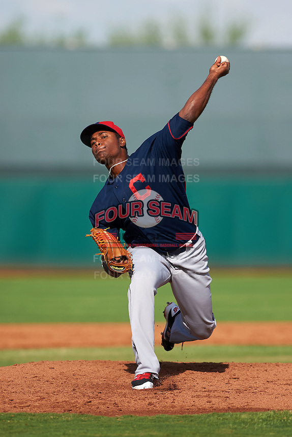 Cleveland Indians pitcher Anderson Polanco (44) during an instructional league game against the Cincinnati Reds on October 17, 2015 at the Goodyear Ballpark Complex in Goodyear, Arizona.  (Mike Janes/Four Seam Images)