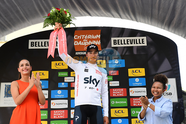 Gianni Moscon (ITA) Team Sky retains the young riders Maillot Blanc at the end of Stage 2 of the 2018 Criterium du Dauphine 2018 running 181km from Montbrison to Belleville, France. 5th June 2018.<br /> Picture: ASO/Alex Broadway | Cyclefile<br /> <br /> <br /> All photos usage must carry mandatory copyright credit (© Cyclefile | ASO/Alex Broadway)