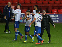 Portsmouth players applaud their fans and celebrate their 1-0 victory at the final whistle during Charlton Athletic vs Portsmouth, Checkatrade Trophy Football at The Valley on 7th November 2017