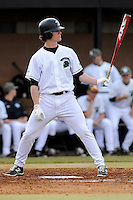 Designated hitter Jaden Savage (19) of the University of South Carolina Upstate Spartans bats in a game against the Winthrop University Eagles on Wednesday, March 4, 2015, at Cleveland S. Harley Park in Spartanburg, South Carolina. Upstate won, 12-3. (Tom Priddy/Four Seam Images)