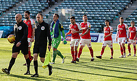 Fleetwood Town players take to the pitch<br /> <br /> Photographer Andrew Kearns/CameraSport<br /> <br /> The EFL Sky Bet League One - Gillingham v Fleetwood Town - Saturday 3rd November 2018 - Priestfield Stadium - Gillingham<br /> <br /> World Copyright © 2018 CameraSport. All rights reserved. 43 Linden Ave. Countesthorpe. Leicester. England. LE8 5PG - Tel: +44 (0) 116 277 4147 - admin@camerasport.com - www.camerasport.com
