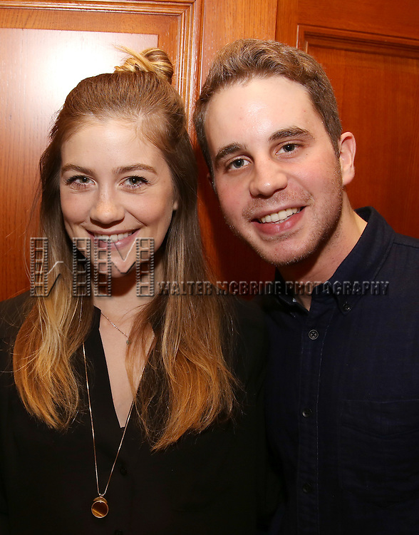 Laura Dreyfuss and Ben Platt during the Dramatists Guild Fund intimate salon with Benj Pasek and Justin Paul at the home of Kara Unterberg on March 7, 2016 in New York City.