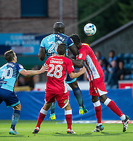Adebayo Akinfenwa of Wycombe Wanderers takes a shot at goal during the Sky Bet League 2 match between Wycombe Wanderers and Accrington Stanley at Adams Park, High Wycombe, England on 16 August 2016. Photo by Andy Rowland.