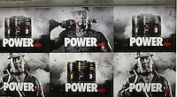 Arnold Schwarzenegger and Bruce Willis appear to Kowa's Power Coffee advert in Shinjuku, Tokyo