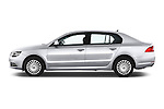 Car Driver side profile view of a 2014 Skoda SUPERB Active 5 Door Hatchback 2WD Side View