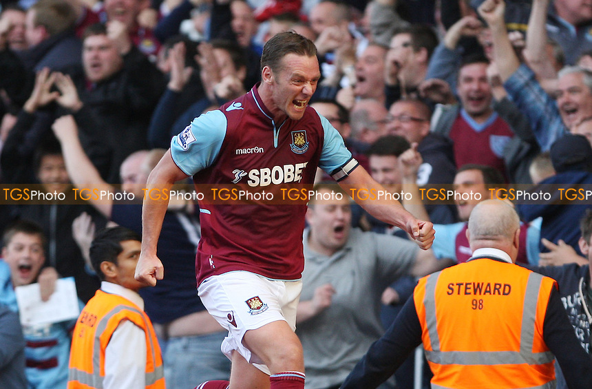 Kevin Nolan celebrates after scoring West Ham's late equalising goal - West Ham United vs Sunderland - Barclays Premier League at Upton Park, West Ham - 22/09/12 - MANDATORY CREDIT: Rob Newell/TGSPHOTO - Self billing applies where appropriate - 0845 094 6026 - contact@tgsphoto.co.uk - NO UNPAID USE.