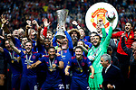 Wayne Rooney of Manchester United lifts the trophy with his team mates after the UEFA Europa League Final match at the Friends Arena, Stockholm. Picture date: May 24th, 2017.Picture credit should read: Matt McNulty/Sportimage