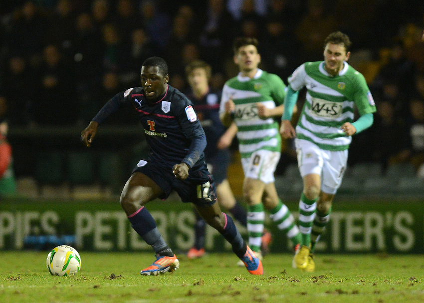Preston North End's Jeffrey Monakana in action during todays match  ..Football - npower Football League Division One - Yeovil Town v Preston North End - Tuesday 12 th 2013 - Huish Park - Yeovil..© CameraSport - 43 Linden Ave. Countesthorpe. Leicester. England. LE8 5PG - Tel: +44 (0) 116 277 4147 - admin@camerasport.com - www.camerasport.com