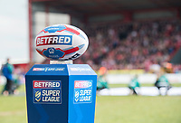 Picture by Allan McKenzie/SWpix.com - 30/03/2018 - Rugby League - Betfred Super League - Hull KR v Hull FC - KC Lightstream Stadium, Hull, England - Betfred, ball, plinth, branding.