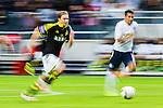 Stockholm 2015-07-30 Fotboll Kval Uefa Europa League  AIK - Atromitos FC :  <br /> AIK:s Johan Blomberg i aktion under matchen mellan AIK och Atromitos FC <br /> (Foto: Kenta J&ouml;nsson) Nyckelord:  AIK Gnaget Tele2 Arena UEFA Europa League Kval Kvalmatch Atromitos FC Grekland Greece panorera panorering fart speed hastighet snabb