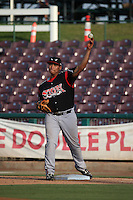 Josh Naylor (32) of the Lake Elsinore Storm at first base during a game against the Inland Empire 66ers at San Manuel Stadium on July 31, 2016 in San Bernardino, California. Inland Empire defeated Lake Elsinore, 8-7. (Larry Goren/Four Seam Images)
