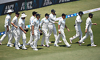 25th November 2019; Mt Maunganui, New Zealand;  NZ players after the lunch break International test match day 5 of 1st test, New Zealand versus England;  at Bay Oval, Mt Maunganui, New Zealand.