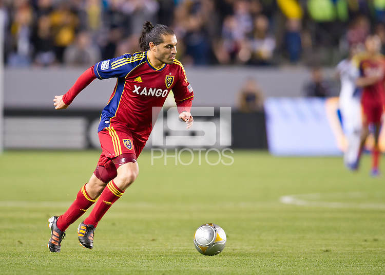 CARSON, CA - March 10,2012: Real Salt Lake forward Fabian Espindola (7) during the LA Galaxy vs Real Salt Lake match at the Home Depot Center in Carson, California. Final score LA Galaxy 1, Real Salt Lake 3.