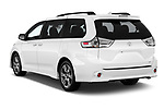 Car pictures of rear three quarter view of a 2018 Toyota Sienna SE 5 Door Mini Van angular rear