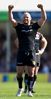 Exeter Chiefs' Jack Yeandle celebrates at the final whistle <br /> <br /> Photographer Bob Bradford/CameraSport<br /> <br /> Aviva Premiership Play-Off Semi Final - Exeter Chiefs v Newcastle Falcons - Saturday 19th May 2018 - Sandy Park - Exeter<br /> <br /> World Copyright &copy; 2018 CameraSport. All rights reserved. 43 Linden Ave. Countesthorpe. Leicester. England. LE8 5PG - Tel: +44 (0) 116 277 4147 - admin@camerasport.com - www.camerasport.com