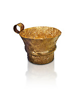 Mycenaean gold cup with spiral decorations, Grave V, Grave Circle A,  Mycenae, Greece. National Archaeological Museum of Athens.  White background.<br /> <br /> An elegant precious gold cup hammered from thick gold to created a simple elegant design. This Mycenaean gold cup demonstrates how advance Mycenaean metalworking was in the 16th century BC. The value of the cup would have been extermely high so must have graced the table of a Mycenaean noble perhaps even a v king.