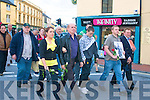 Never give up: Some of the large crowd walking up the Mall in Tralee on Friday evening in memory of Joseph Pyke,a resident of St Joseph's Industrial school Tralee who died at the hand's of sadistic fiend's,dressed in Roman Catholic attire,and called themselves Christian brother's.