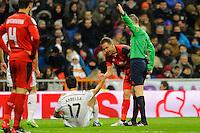 Real Madrid´s Gareth Bale and Sevilla's Timothee Kolodziejczak during 2014-15 La Liga match between Real Madrid and Sevilla at Santiago Bernabeu stadium in Alcorcon, Madrid, Spain. February 04, 2015. (ALTERPHOTOS/Luis Fernandez) /NORTEphoto.com