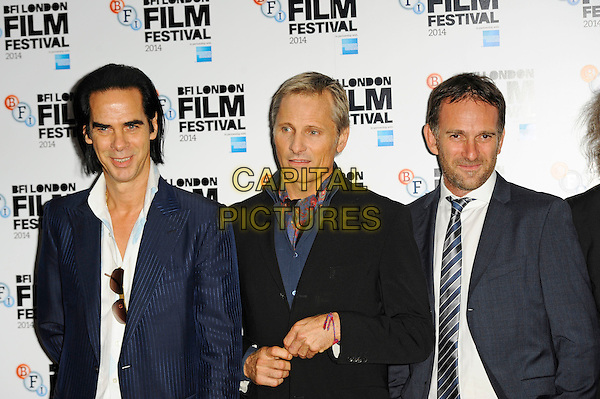 LONDON, ENGLAND - OCTOBER 18: Nick Cave, Viggo Mortensen and David Oelhoffen attend 'Far From Men' Screening at the 58th BFI London Film Festival at Vue West End Cinema, Leicester Square on October 18, 2014 in London, England.<br /> CAP/MAR<br /> &copy; Martin Harris/Capital Pictures