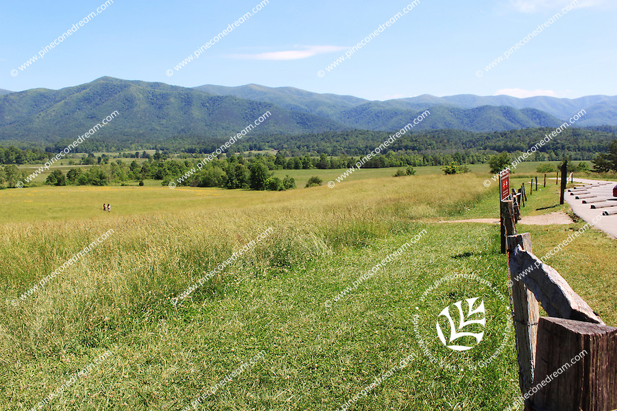 A view of a prairie and hills at  Cades Cove at the Great Smoky mountain national park, Tennessee, USA