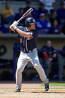 Auburn Tigers designated hitter Patrick Savage #9 at bat against the LSU Tigers in the NCAA baseball game on March 24, 2013 at Alex Box Stadium in Baton Rouge, Louisiana. LSU defeated Auburn 5-1. (Andrew Woolley/Four Seam Images).