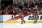 ST PAUL, MN - APRIL 7: Teammates congratulate Karson Kuhlman #20 of the Minnesota-Duluth Bulldogs after his goal past Cale Morris #32 of the Notre Dame Fighting Irish during the Division I Men's Ice Hockey Semifinals held at the Xcel Energy Center on April 7, 2018 in St Paul, Minnesota. (Photo by Carlos Gonzalez/NCAA Photos via Getty Images)