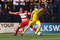 28 AUGUST 2010:  FC Dallas' Daniel Hernandez (2) and Eddie Gaven of the Columbus Crew (12) during MLS soccer game between FC Dallas vs Columbus Crew at Crew Stadium in Columbus, Ohio on August 28, 2010.