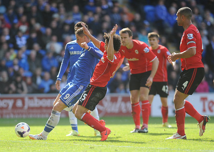 Chelsea's Fernando Torres scores his sides second goal <br /> <br /> Photographer Ashley Crowden/CameraSport<br /> <br /> Football - Barclays Premiership - Cardiff City v Chelsea - Sunday 11th May 2014 - Cardifff City Stadium - Cardiff<br /> <br /> &copy; CameraSport - 43 Linden Ave. Countesthorpe. Leicester. England. LE8 5PG - Tel: +44 (0) 116 277 4147 - admin@camerasport.com - www.camerasport.com