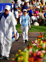 Ayako Uehara of Japan walks to the 18th green  during the final round of the ANA Inspiration at the Mission Hills Country Club in Palm Desert, California, USA. 4/1/18.<br /> <br /> Picture: Golffile | Bruce Sherwood<br /> <br /> <br /> All photo usage must carry mandatory copyright credit (&copy; Golffile | Bruce Sherwood)