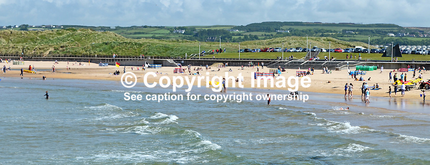 GV, general view, bathers, East Strand, Portrush, Co Antrim, N Ireland, UK, 201406213173<br />