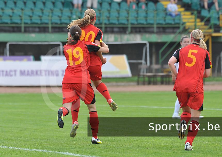Hungary - Hongarije : UEFA Women's Euro Qualifying group stage (Group 3) - 20/06/2012 - 17:00 - szombathely  - : Hungary ( Hongarije ) - BELGIUM ( Belgie) :.Janice Cayman scoort de 1-2 voor Belgie.foto DAVID CATRY / JOKE VUYLSTEKE / Vrouwenteam.be.