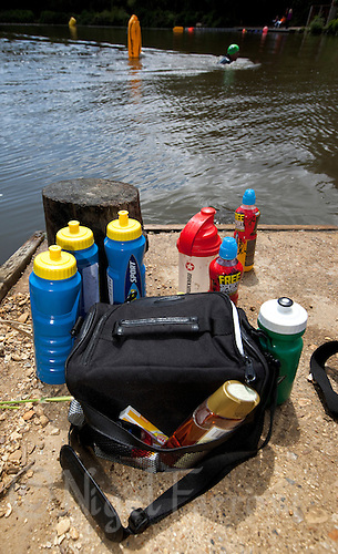 10 JUN 2011 - BRANSGORE, GBR - Food and drink left on the side of the lake by competitors during the Enduroman Ultra Triathlon Championships (PHOTO (C) NIGEL FARROW)