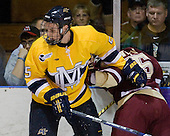 Simon Demers (Merrimack - 5), Joe Whitney (BC - 15) - The Merrimack College Warriors defeated the Boston College Eagles 5-3 on Sunday, November 1, 2009, at Lawler Arena in North Andover, Massachusetts splitting the weekend series.