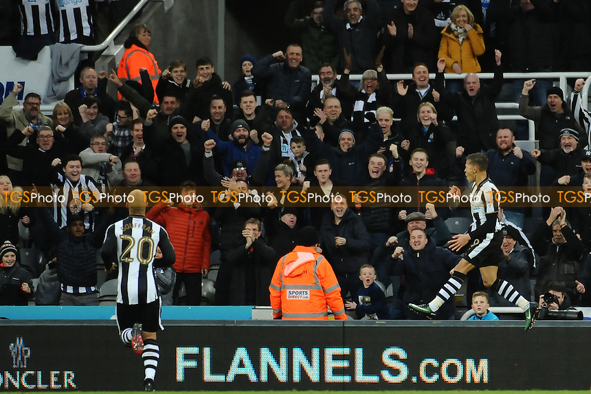 Dwight Gayle of Newcastle United celebrates scoring the opening goal of the game during Newcastle United vs Birmingham City, Sky Bet EFL Championship Football at St. James' Park on 10th December 2016