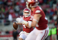 NWA Democrat-Gazette/CHARLIE KAIJO Arkansas quarterback John Stephen Jones (9) looks for a receiver, Saturday, November 2, 2019 during the third quarter of a football game at Donald W. Reynolds Razorback Stadium in Fayetteville. Visit nwadg.com/photos to see more photographs from the game.