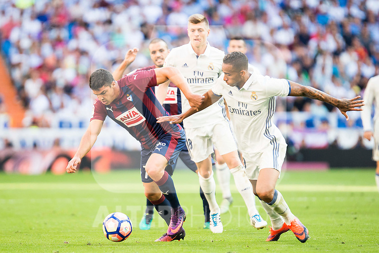 Real Madrid's player Danilo Luiz Da Silva and Toni Kroos and Eibar FC's player Ander Capa during a match of La Liga Santander at Santiago Bernabeu Stadium in Madrid. October 02, Spain. 2016. (ALTERPHOTOS/BorjaB.Hojas)
