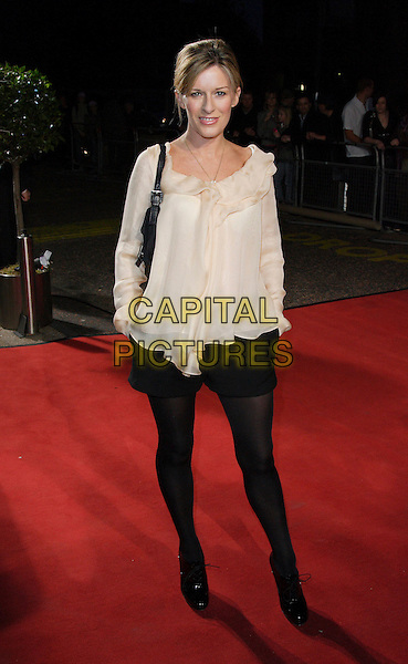 "ANDREA CATHERWOOD.Celebrity Guests attend ""Another Audience with Al Murray - Pub Landlord"" at London ITV Studios, South Bank, London, England, October 21st 2007..full length black shorts tights cream blouse top.CAP/ROS.©Steve Ross/Capital Pictures"