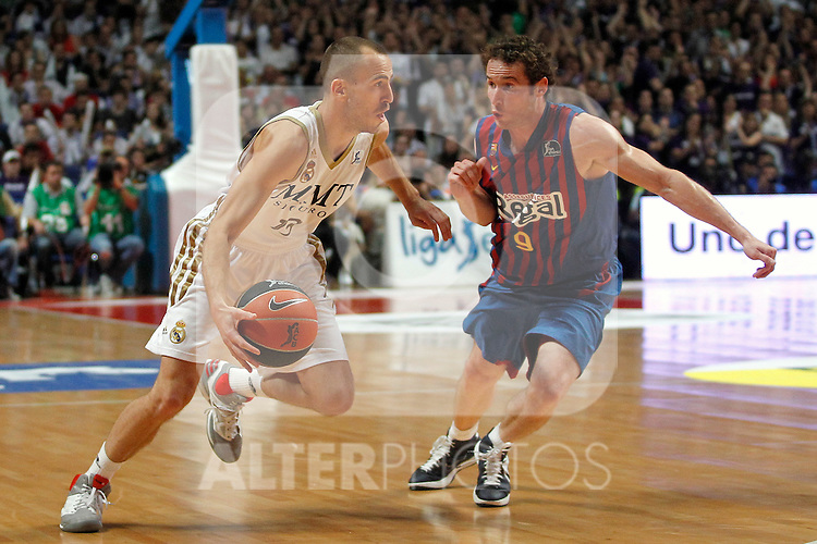 Real Madrid's Sergio Rodriguez and FC Barcelona Regal's Marcelinho Huertas  during Liga Endesa ACB Play-Off Final matchs.4th Game. June 13,2012. (ALTERPHOTOS/Acero)