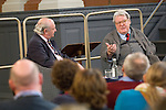 Sir Alan Parker, film director, and Graham Benson at the Sheldonian Theatre during the Sunday Times Oxford Literary Festival, UK, 24 March - 1 April 2012. <br />