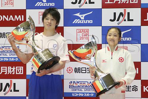 (L to R) Kohei Uchimura (JPN), Koko Tsurumi (JPN), ]JUNE 13, 2010 - Artistic gymnastics : The 49th NHK Cup, Women's Individual All-Around 2nd Day at 1st Yoyogi Gymnasium, Tokyo, Japan.