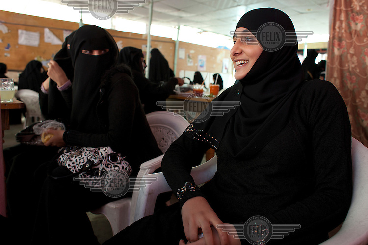 Female students attend the Old University in Sana'a.