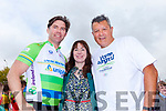 Former Ireland professional rugby player Liam Toland and All Black rugby legend Zinzan Brooke from New Zealand pictured with Leonie Kelly from Tarbert who organised the stop off at Tarbert National School on Wednesday during a stop off on the Cross Atlantic Cycle.